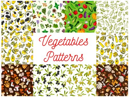 Vegetarian food and vegetable seamless pattern set with tomato, pepper, olive oil and fruit, mushroom and salad leaf, broccoli, garlic and spice herb, eggplant and radish, ginger, corn, pea Illustration
