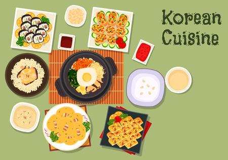 Icona di kimbap di sushi di cucina coreana con bibimbap di riso misto di verdure, rotolo fritto con verdure, riso ai funghi di pollo, frittata di verdure, porridge di riso, pancake di fagioli con pancetta
