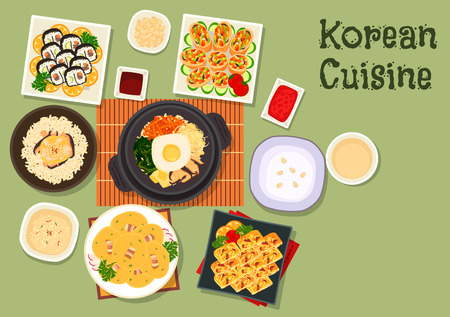 Korean cuisine sushi roll kimbap icon with mixed vegetable rice bibimbap, fried roll with vegetables, chicken mushroom rice, vegetable omelette, rice porridge, bean pancake with bacon