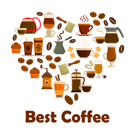 coffee bean: Coffee heart symbol with icons of coffee cup with espresso, cappuccino and latte drink, coffee bean, coffee pot, coffee maker, coffee grinder, cupcake dessert and chocolate. Cafe, coffee shop design