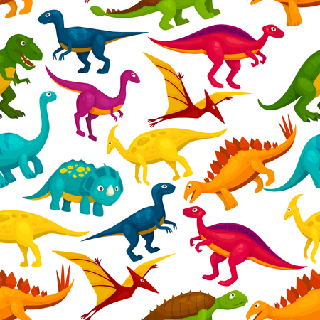 Dinosaur and jurassic animal seamless pattern. Tyrannosaurus, triceratop, stegosaurus, pterodactyl, t-rex, brontosaurus, velociraptor cartoon monster background Illustration