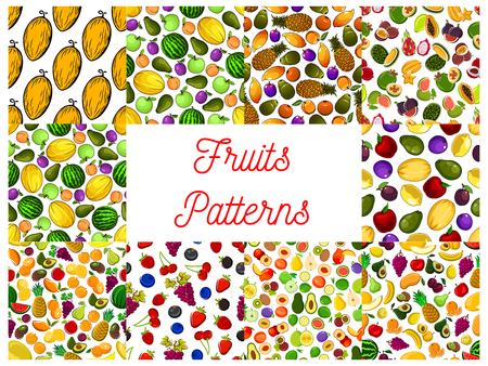 tropical garden: Tropical fruit and garden berry seamless pattern with strawberry, apple and cherry, orange and banana, peach, mango and pineapple, grape and plum, feijoa, carambola, melon and avocado, lemon, pear, durian, lychee