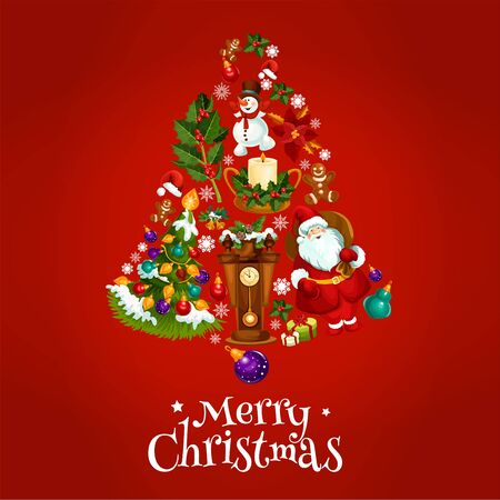 jingle bell: Happy New Year. Vector poster with christmas symbols of jingle bell, balls, santa claus, new year gifts, sweets, wall clock, tree with garland lights, gingerbread cookies, candles, biscuits, champagne bottle, snow on fir cones