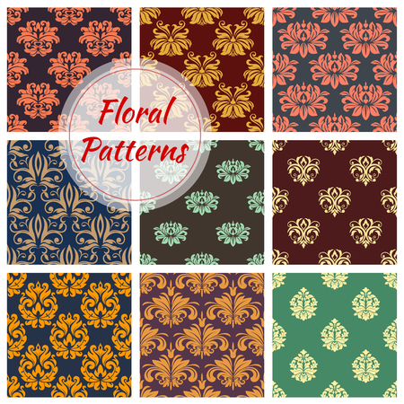 victorian wallpaper: Floral damask seamless pattern background with royal victorian flourishes, baroque flower and leaf scroll. Wallpaper, textile and interior design Illustration