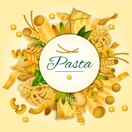 Italian pasta, spaghetti and macaroni banner of traditional italian cuisine dried noodles with basil, spinach, dill and round badge with copy space. Restaurant menu, food design Illustration