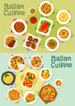 bolognese: Italian cuisine pasta and pizza dishes icon set with ham, mushroom, shrimp and fish pasta, pizza with seafood, tomato and mozzarella, lasagna, spaghetti bolognese, risotto, beef and chicken dishes