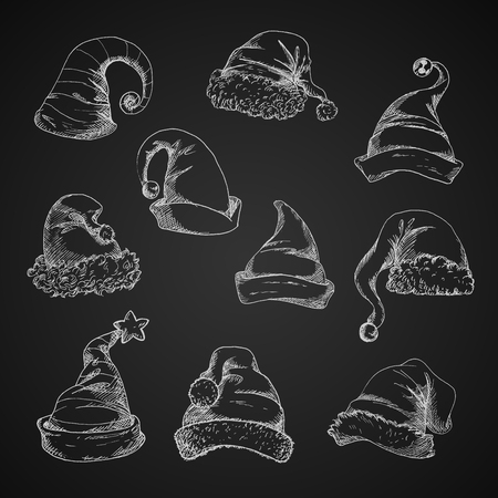 Santa hats vecteur crayon croquis icônes. Sketches à la craie isolées sur le tableau noir. Pour les éléments de décoration des fêtes de fin d'année et de Noël Banque d'images - 66210186
