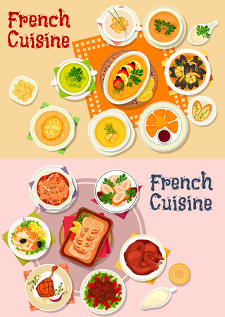 soup: French cuisine national dishes icon with seafood stew, chicken in wine sauce, fried cheese, duck, rabbit and perch roast, vegetable and lentil soups, chicken roll with shrimp, fish souffle, baked cod