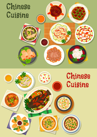 spring roll: Chinese cuisine dinner icon with rice, baked fish with vegetable, noodle, daikon, cabbage salads, shrimp spring roll, soups with chicken, rice, beef, fish, beef tongue, squid ring, cucumber with pork Illustration