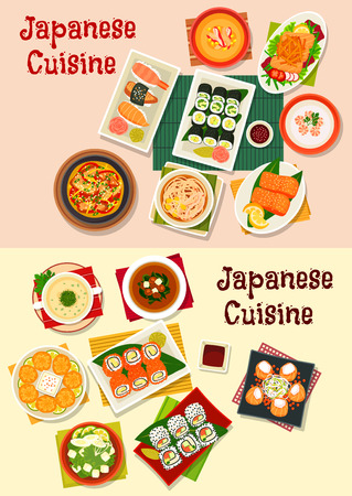 Japanese cuisine seafood sushi dishes icon served with grilled fish, salmon roll and salad, shrimp, beef noodle, chicken, tofu and crab soups with spinach, mushroom and corn, fried wonton