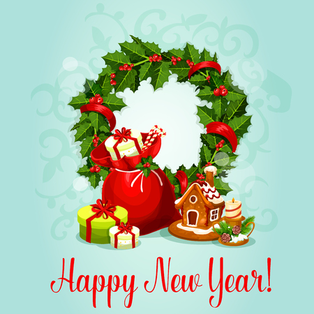 pine decoration: New Year greeting card with holly berry wreath, santas gift bag with present box and candy cane, gingerbread house and candle holder with pine decoration. New Year festive design Illustration