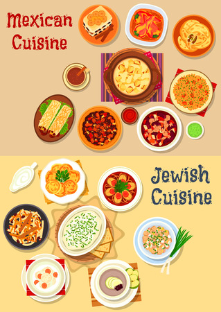matzo balls: Mexican and jewish cuisine icon with vegetable chili, cheese, bean beef stew, fish, forshmak, bean burrito, fish soup, cutlet, chicken salad, stuffed pepper, tomato rice, bread pudding, carrot dessert Illustration