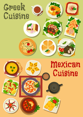 garlic bread: Mexican and greek cuisine icon with chilli bean, vegetable soup, meat stew, vegetable cheese and fish roe salad, corn and garlic bread, beef feta pie, dolma, eggplant roll, almond cake, bread pudding