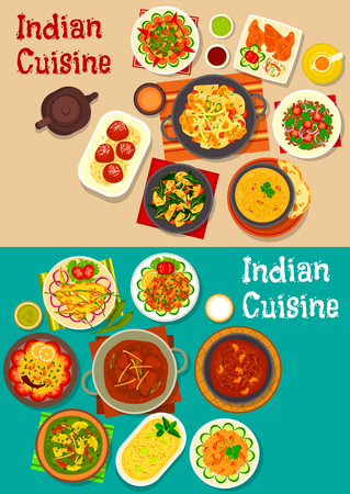 Indian cuisine dinner icon with lamb curry, chutney, vegetable and mushroom stew, vegetable salad, fried chilli, lentil soup, lemon rice, lamb meatball, rice with pork, yogurt dessert, fried milk ball