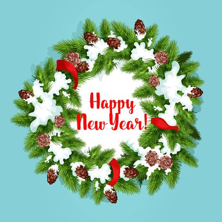 snow cone: New Year tree wreath greeting card. Green branches of pine and fir tree, arranged into round frame, adorned by red ribbon, cone and snow with text happy New Year