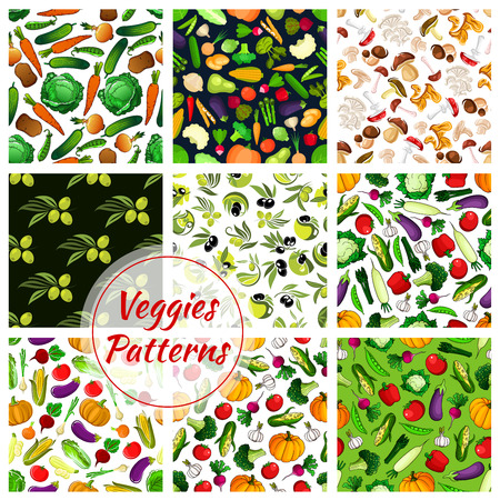 oil crops: Vegetable, fruit and mushroom seamless patterns with tomato, olive, pepper, broccoli and carrot, eggplant and onion, cabbage, pumpkin, garlic and porcini, radish and potato. Food theme design