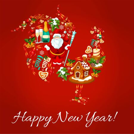 chinese holly: Chinese New Year rooster with Santa, gift, snowman, pine tree, holly berry, bell, bauble ball, snowflake, candle and santa hat, gingerbread man, poinsettia and clock. New Year greeting card