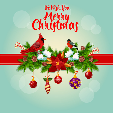 merry christmas greeting card tied with red cardinal birds ribbon and decorated with christmas holly