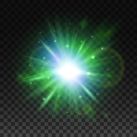 effect: Shining star or sun with green radiance of glare beam, glittering sparkle and lens flare. Transparent green light effect, glowing sunlight or star burst for art design