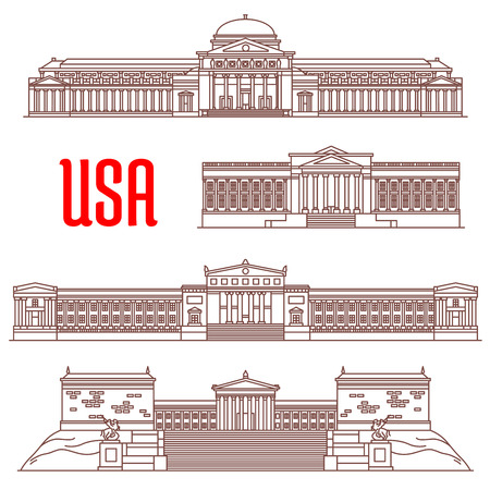 institute: USA travel landmarks icon with linear architectural sights. Field Museum of Natural History, Philadelphia Museum of Art, The Franklin Institute, Museum of Science and Industry
