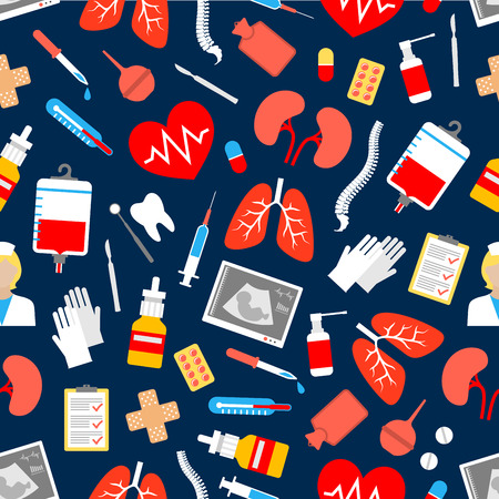 enema: Medicine and healthcare seamless pattern with heart and syringe, thermometer, doctor and pill, blood, tooth, dental mirror and scalpel, lungs, medication, glove and checking form
