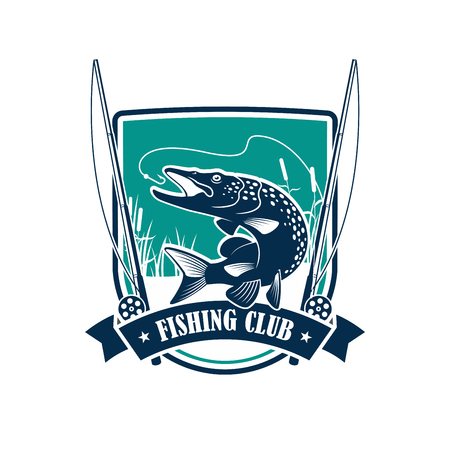Fishing club symbol on heraldic shield. Pike fish leaping out of the water with a river landscape on the background, flanked by fishing rod and ribbon banner. Fishing trip, sporting design Illustration