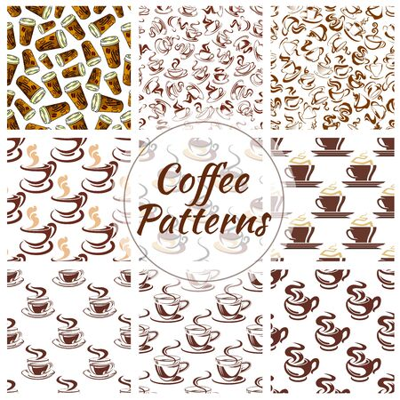 fresh brewed: Coffee cup seamless pattern background. Fresh brewed coffee, espresso and cappuccino, served in takeaway paper cup, ceramic cup and demitasse with saucer. Coffee shop or cafe menu design