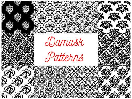 Damastornament naadloos patroon in te stellen. Bloemen achtergrond van zwarte en witte barok bloem met blad scroll en bloeit. Vintage behang, interieur accessoire ontwerp