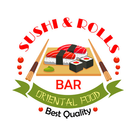 restaurant sign: Sushi bar, japanese food restaurant symbol. Sushi roll and salmon nigiri sushi, garnished with wasabi on wooden platter with chopsticks. Oriental cuisine sign with ribbon banner for menu design