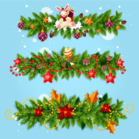 xmas star: Christmas garland winter holidays greeting card. Pine and holly berry tree branches, decorated with star, candle, gift box, snowflake, bauble ball, poinsettia flower, cone. Xmas festive placard design Illustration