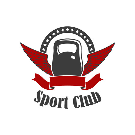 badge with ribbon: Sport club symbol with winged kettlebell, encircled by wavy ribbon banner and arch of stars. Kettlebell lifting sport, fitness club, gym badge design