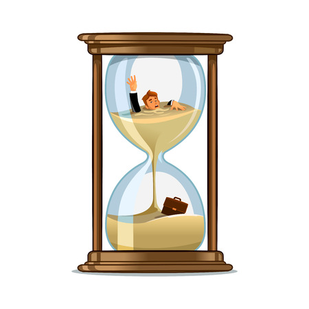 Businessman be trapped in hourglass and sinking in sand. Expired deadline, business time management, time is running out themes design