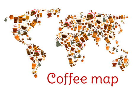 espresso cup: Coffee map poster. World card created of coffee cup, cappuccino mug, espresso paper cup, coffee bean, cupcake, coffee maker and pot, chocolate, coffee grinder, irish cream and latte coffee drinks