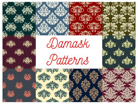 victorian wallpaper: Damask flower seamless pattern. Set of damask floral ornament background with victorian flourishes, flower and leaf. Wallpaper and textile floral pattern design
