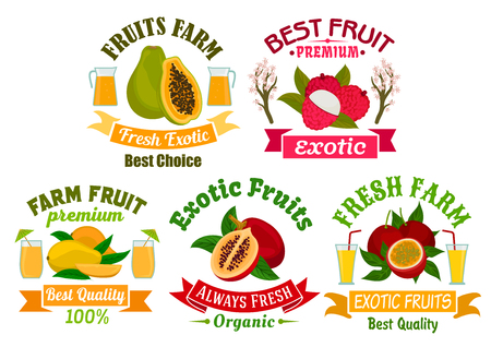 lychee juice: Exotic fruit sign and badge set. Tropical mango, papaya, passion fruit, lychee and tamarillo fruit and juice symbol with ribbon banner. Organic farm, food and juice packaging design
