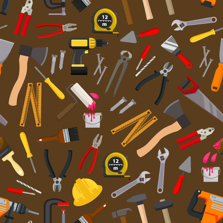 equipment work: Work tools and equipment seamless pattern with hammer, screwdriver and spanner, pliers, wrench and drill, crew, saw, spatula and trowel, axe, paint roller, brush, nails, measuring tape Illustration