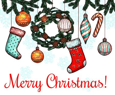christmas candy: Christmas and winter holidays greeting card. Candy cane, christmas wreath, bauble ball and stocking sock hanging on pine tree branches. Sketch poster for Xmas and New Year design Illustration
