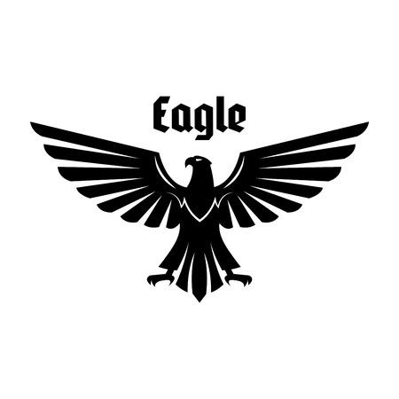 イーグルの紋章。差し出された翼と足を持つ黒いワシ、ハヤブサや鷹鳥。ロイヤルの紋章、家紋、紋章やタトゥーのデザインの紋章鳥