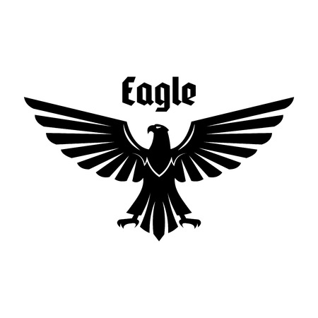 Eagle heraldic symbol. Black eagle, falcon or hawk bird with outstretched wings and legs. Heraldic bird for royal coat of arms, crest, emblem or tattoo design
