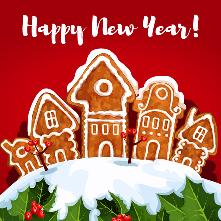 snow cone: New Year gingerbread town winter greeting card. Banner with wishes of Happy New Year and copy space, adorned by pine tree with bauble ball, holly berry, pine branches with snow and cone, candle lantern Illustration