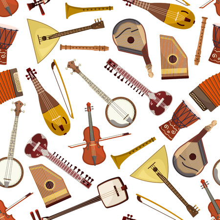 lute: Ethnic musical instrument seamless pattern with lute and drum, violin, lyre, mandolin and banjo, sitar, wooden flute and psaltery, balalaika, accordion and rebec. Folk music themes design