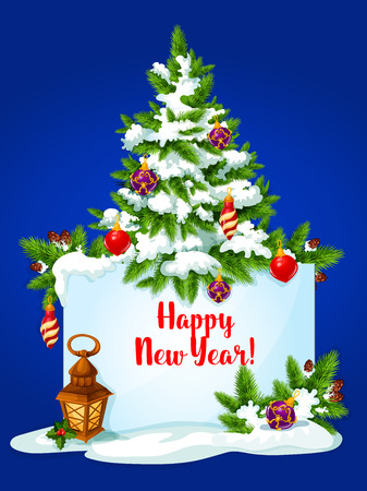 snow cone: New Year pine tree greeting card. Banner with wishes of Happy New Year and copy space, adorned by pine tree with bauble ball, holly berry, pine branches with snow and cone, candle lantern