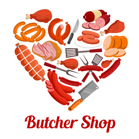 Heart made up of meat product poster. Sausage, bacon, ham, salami, frankfurter and chicken leg with butcher knife, barbeque fork and spatula. Butcher shop, bbq menu design