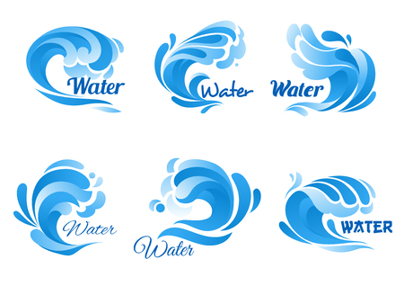 swell: Wave of blue sea or ocean water icon set. Swirl of water wave symbol with drop and splash. Marine, nature, ecology themes design