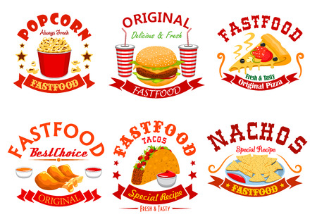 nachos: Fast food cafe badge set. Hamburger, pizza, soda cup, tacos, fried chicken, nachos and popcorn takeaway dishes symbol. American, mexican and italian fast food design