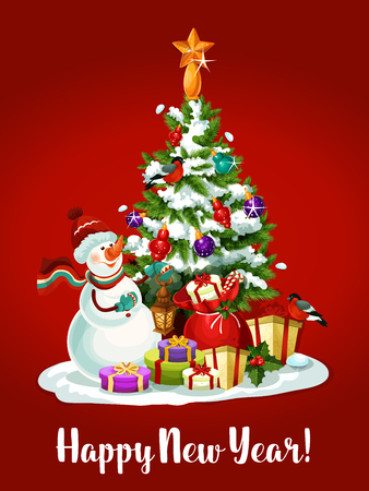 ball lights: Snowman with gift and present box with red ribbon, holly berry and candy cane decor standing near pine tree, adorned by bauble ball, lights and golden star. New Year holiday card design Illustration