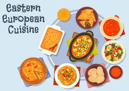 apple cinnamon: Eastern european cuisine icon with potato dumpling with meat gravy, vegetable egg salad, boiled potato, omelette with bell pepper, fried meat pie, tomato soup, vegetable pie, apple cinnamon pie