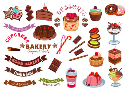 gingerbread cake: Pastry dessert badge design element. Cake, cupcake, donut, ice cream, gingerbread, cookie, muffin with chocolate, cream, fruit, candy and ribbon banner. Pastry shop and cafe emblem design