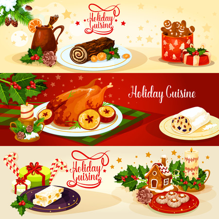 gingerbread cake: Christmas holiday cuisine dinner banner. Baked turkey with apple, chocolate log cake, gingerbread house and man, stollen, nut turron, pie and mulled wine with gift, holly, candy and candle Illustration