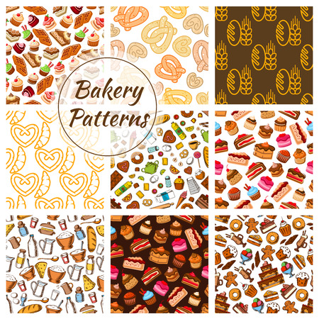 chocolate candy: Bakery and pastry food seamless pattern background set. Bread, cake, cupcake, croissant, chocolate, donut, pie, candy and baking ingredients. Bakery and pastry desserts design Illustration